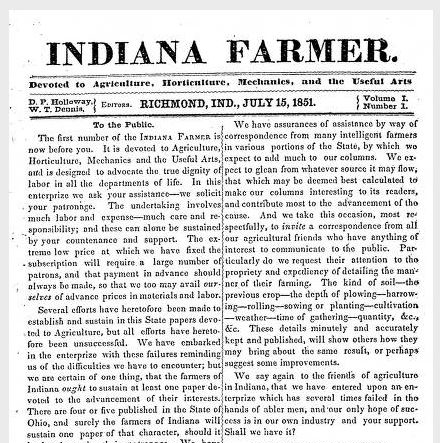 Indiana farmer, 1851, v. 01, no. 01 (July 15) Image